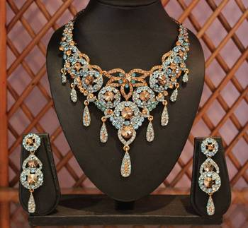 Light Blue Gold Royal Necklace set