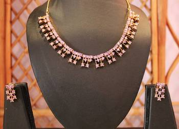 Elusive Pink and Golden Necklace Set
