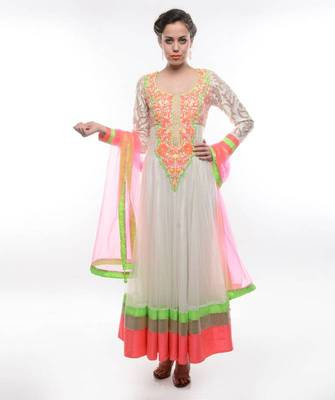 WHITE ANARKALI SUIT WITH NEON THREAD EMBROIDERY-Exclusive by  Abhilasha and Abhishek
