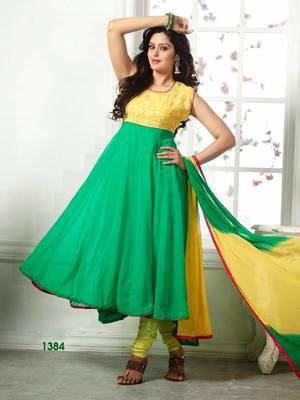 Designer Green & Yellow Georgette Anarkali