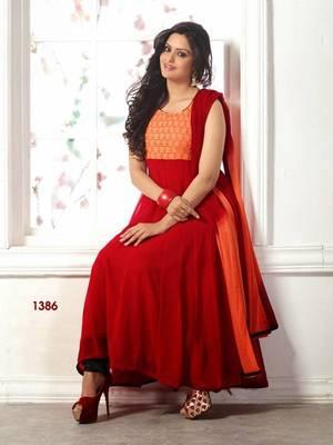 Designer Red Georgette Anarkali