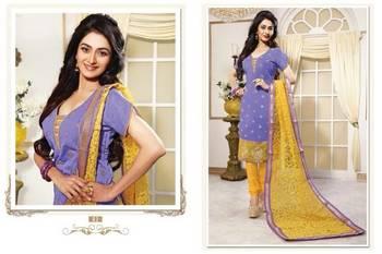 Designer Lavender and Yellow Chanderi jacquard Salwar