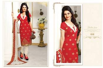 Designer CoralRed And White Chanderi jacquard Salwar