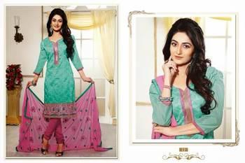 Designer Turquoise & Pink Chanderi jacquard Salwar
