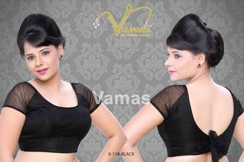 Netted Raglan Sleeves with back bow Saree Blouse. X118 black. Muhenera presents designer Blouse