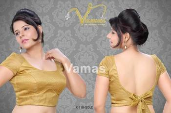 Netted Raglan Sleeves with back bow Saree Blouse. X118Gold. Muhenera presents designer Blouse