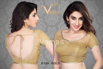 Inner cut pattern Saree Blouse. X124 gold.