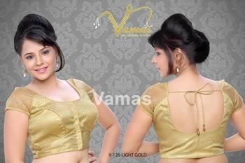 Simple Raglan Net Sleeves Saree Blouse. X126 light gold