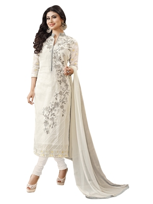 White embroidered cotton unstitched salwar with dupatta