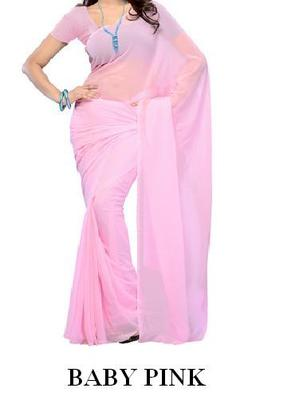Baby Pink Plain Faux Chiffon Saree Sari with Blouse