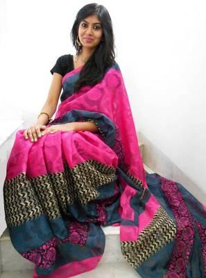 Pink and grey printed jacquard saree