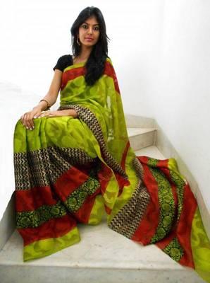 Green and rust printed jacquard saree