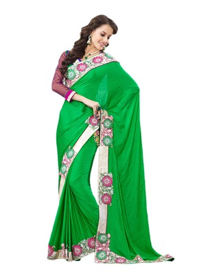 Hypnotex Green Chiffon Saree