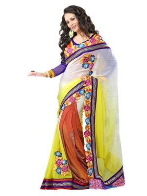 Hypnotex Off White and Yellow Georgette Lehenga Saree