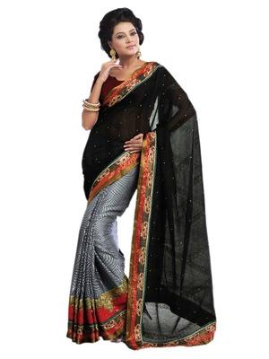 Hypnotex Black Grey Bhagalpuri jacquard Saree