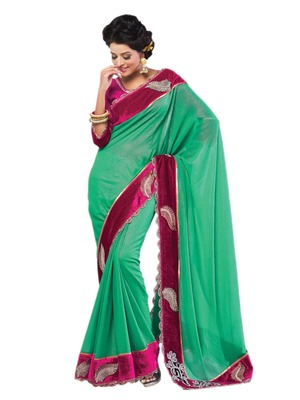 Hypnotex Blue Georgette Saree
