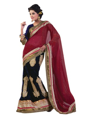 Hypnotex Blue Maroon Georgette Saree