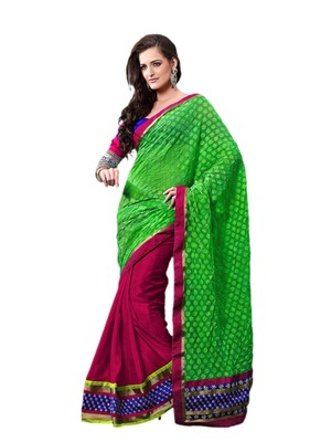 Hypnotex Green pink Art silk Saree