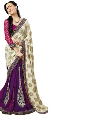 Hypnotex Purple Cream Viscos Georgette Saree