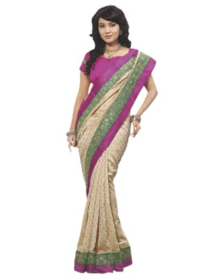 Hypnotex Cream Art Silk Saree