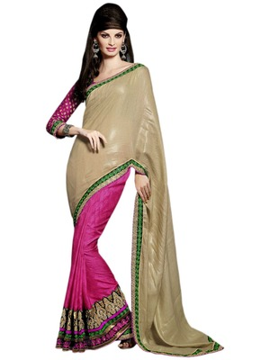 Hypnotex Cream Pink Nylon Art silk jacquared Saree