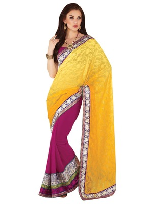 Hypnotex Yellow and Pink Dhupion Viscose Saree