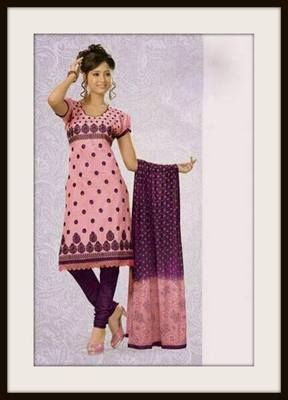 Embroidered cotton dress material ::Salwar kameez
