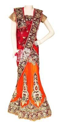 Shaded orange red shining design work wedding lehenga