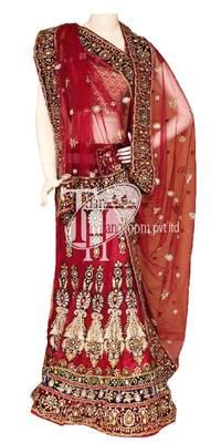 Outstanding blue with pink velvet bridal lehenga