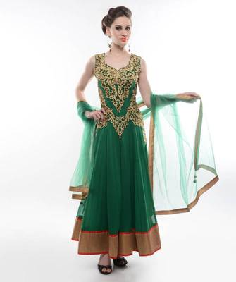 GREEN ANARKALI SUIT WITH INTRICATE GOLDEN EMBROIDERY- BY ABHILASHA & ABHISHEK