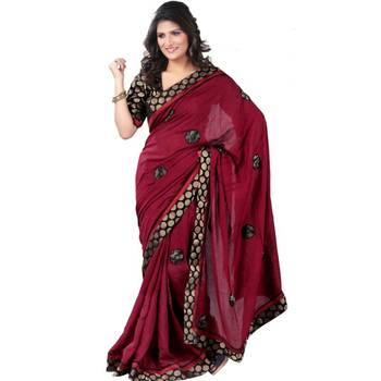 Perfect page3 Maroon Black Butta Fancy Saree with Free Size Stitched Blouse