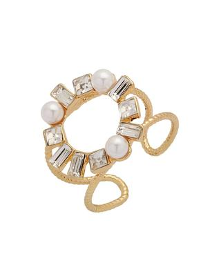 Pearl Beads & Crystal Embellished Adjustable Ring