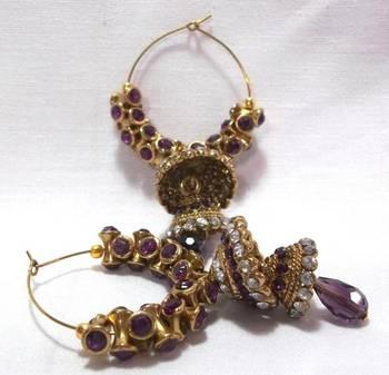 Golden Purple Stone Double Jhumki Earrings