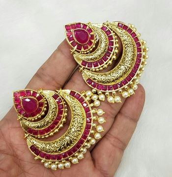 Royal and elegant rajwadi ruby pearl earring dangler jewelry