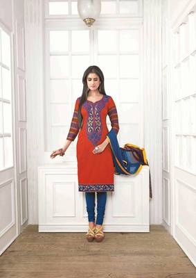 Flamboyant Satin Cotton Red Salwar Kameez