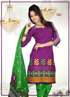 Dress Material Cotton Printed Salwar Kameez With Half Sleeves