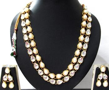 two Line pearl stone kundan necklace set