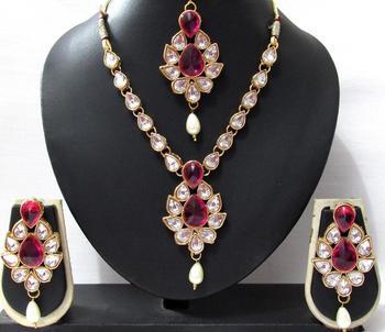 White drop Dark Pink Stone necklace set