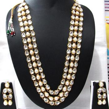 three Line White pearl kundan necklace set