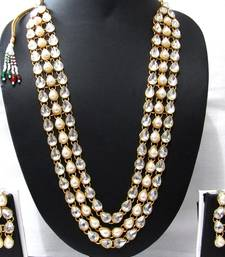 Buy three Line White pearl kundan necklace set necklace-set online
