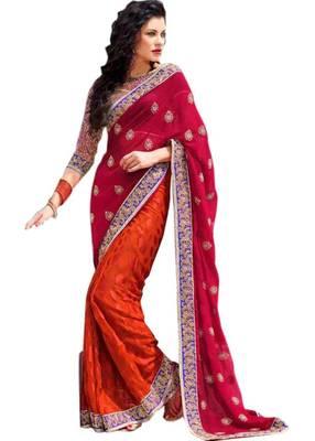 Orange Red Designer Saree