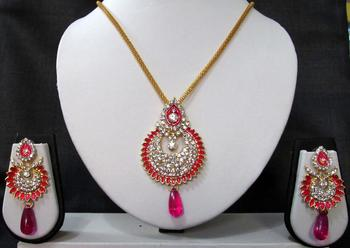 Dark Pink drop long chain pendant necklace set
