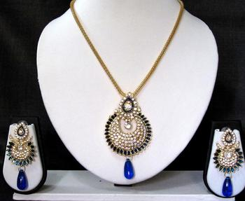 Dark Blue drop long chain pendant necklace set