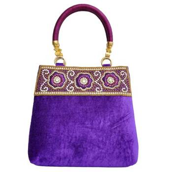 Craftstages Purple Velvet Designer Handbag