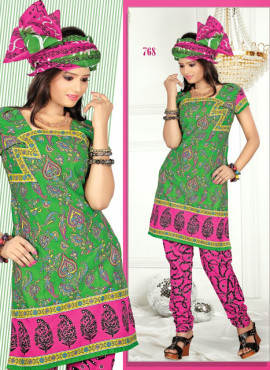 Green And Pink Cotton Printed Unstitched Salwar Kameez