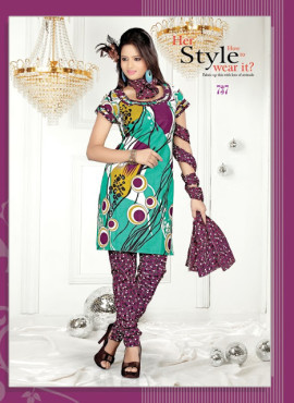 Unstitched Cotton Salwar Suit With Designer Dupatta