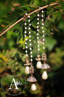 KASHMIRI Bells Earrings Golden color with Pearls Flower crystal kundan kashmiri Jhumka Earrings