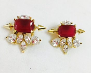 American diamond and Ruby studs