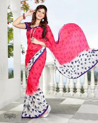 Zoom Fabric gerogette Saree 6901