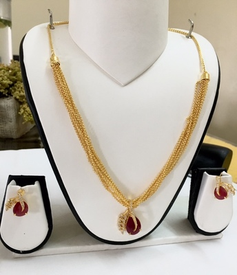 Gold and Ruby Pendant set
